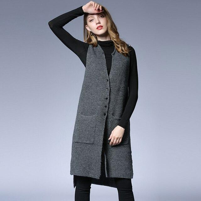 cf99295decff7 Women Wool Vest Sleeveless Cardigan 2018 Winter Autumn Casual Loose Solid  Black Grey Feminino Long Knitted Cardigan Sweater Coat