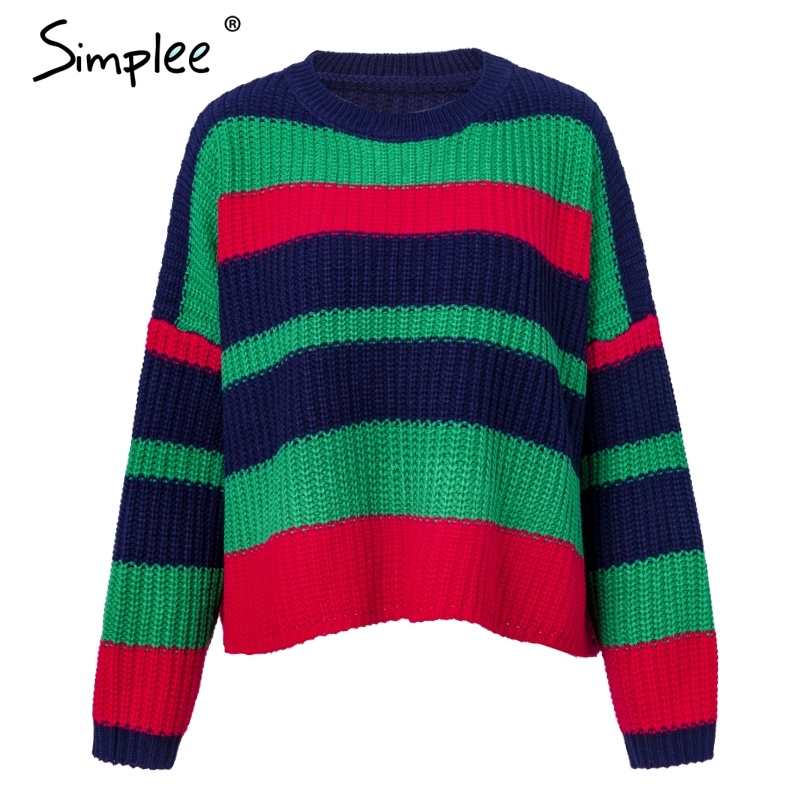Simplee 2018 fashion O neck women sweaters Vintage rainbow sweater casual pullovers and sweaters Autumn winter jumpers