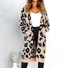 Estampado de leopardo punto largo cardigan mujeres 2018 Otoño Invierno  suéter mujer bolsillos split suéter cardigan 29860707e99