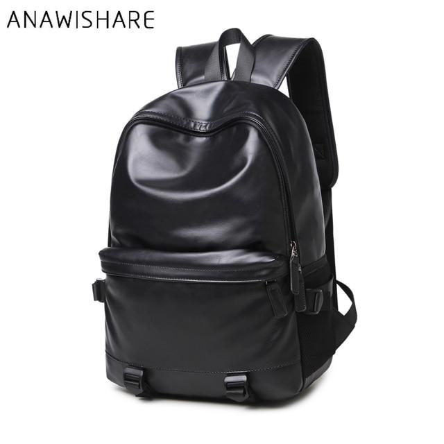 ANAWISHARE Men Leather Backpacks Black School Bags For Teenagers ...