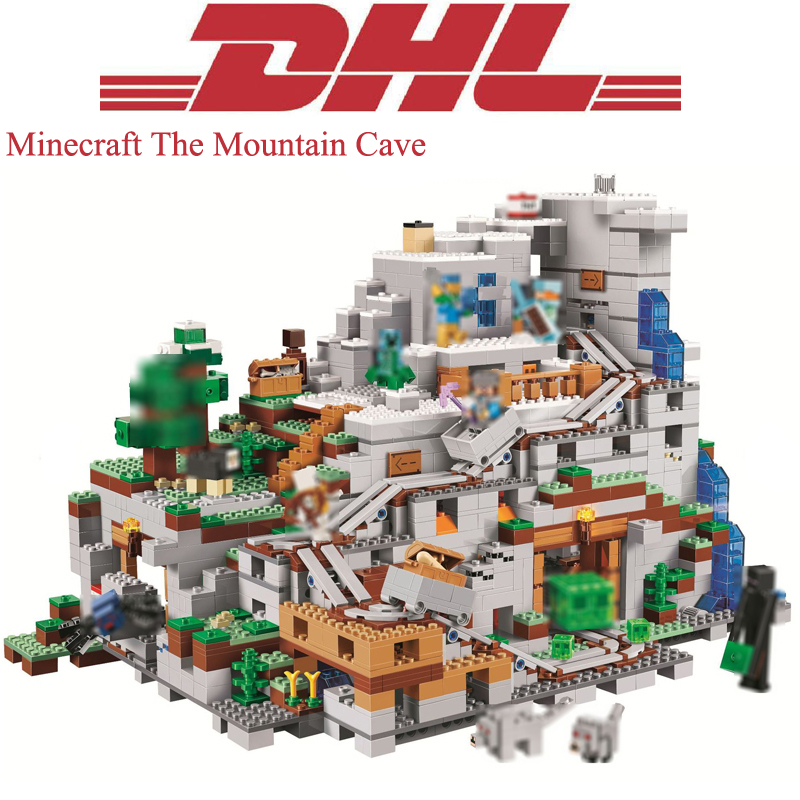 Lepin 18032 Minecrafted Figures The Mountain Cave Model Building Kits Blocks Bricks Toys For Children Compatible Legoing 21137