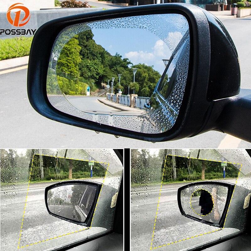 POSSBAY Universal película de espejo de Coche Auto Moto espejo retrovisor resistente al agua pegatina protectora Coche Anti-deslumbrante Membrana de ventana de lluvia