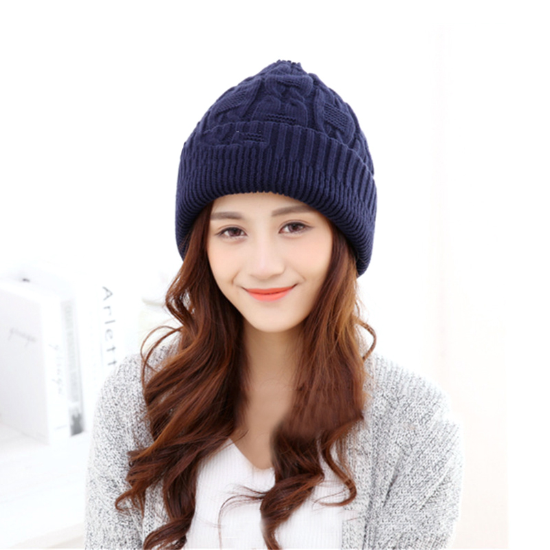 b17544a3ab1 2018 Winter Hats For Women Warm Knitted Beanies Hat Handmade Female High  Elastic Soft Caps Headgear Free Size Cap KH667700-in Skullies   Beanies  from ...