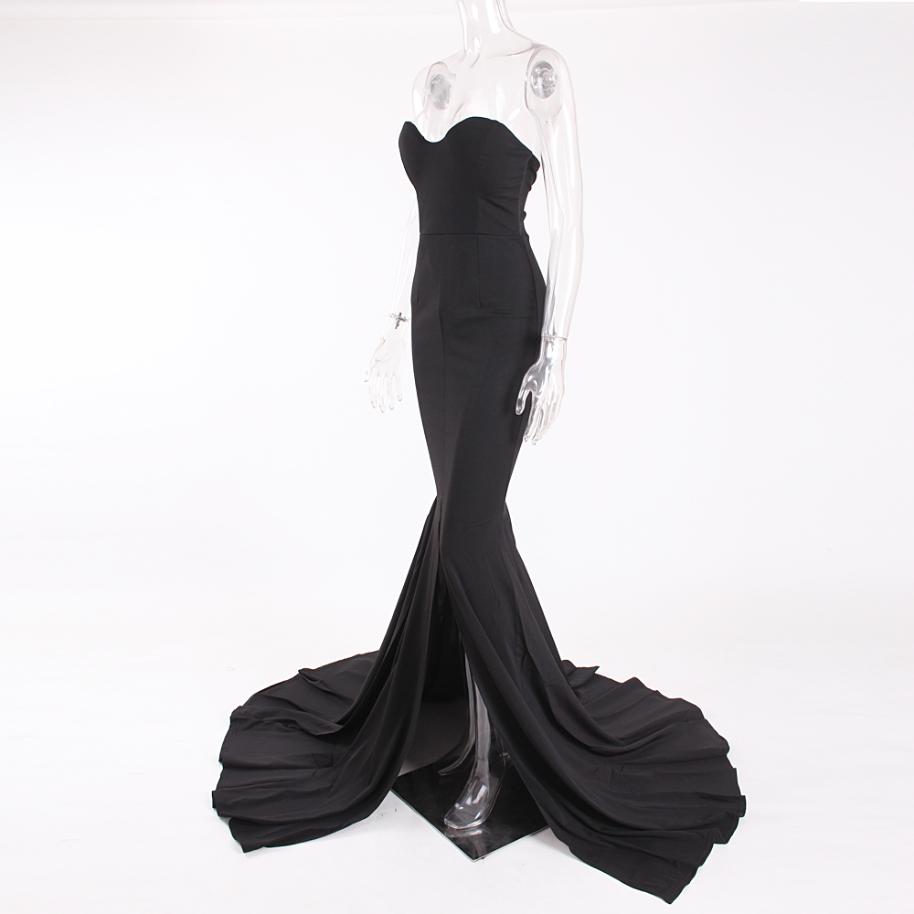 Strapless Split Front  Mermaid Sleeveless Elegant Dress 13