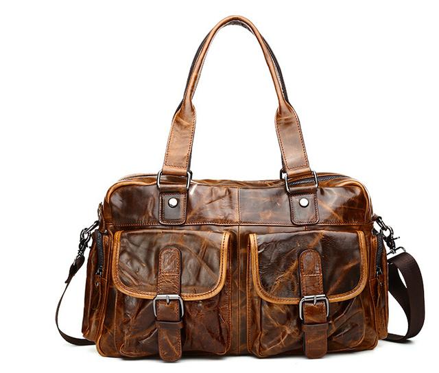 2017 new oil wax leather men bag shoulder bag, Messenger bag