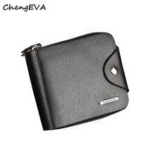 ChengEVA 1PC Mens Leather ID Card Holder Billfold Zip Purse Wallet Handbag Clutch Fashion Brand 2016 Hot Sale Attractive Nov 23