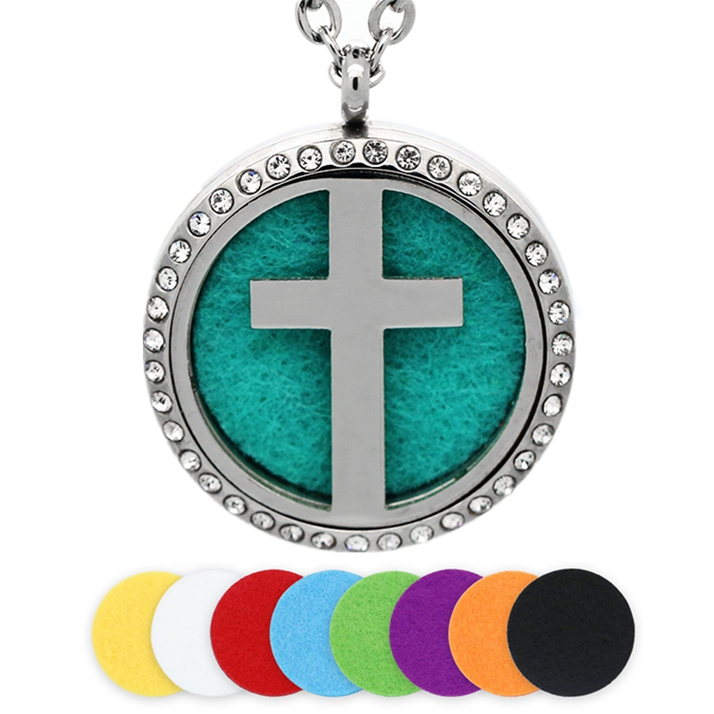 BOFEE 30MM Silver Cross Aromatherapy Necklace Stainless Steel Essential Oil Diffuser Locket Pendant Crystals Jewelry