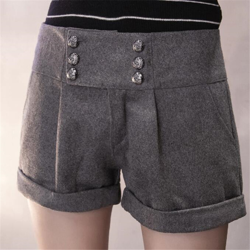 YGYEEG   Shorts   Spring Winter Women's Turn-Up Straight Boot Cut Plus Large Casual Woolen   Shorts   With Belt Black Grey Size S-XXL