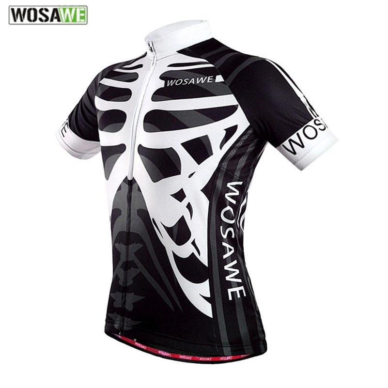 Цена за WOSAWE Quick Dry Велоспорт Джерси Спорта На Открытом Воздухе Bicicleta Куртка Велосипед Скелет С Коротким Рукавом Ropa Ciclismo Одежда