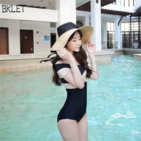 2017 New Woman Sexy Cross Halter Swimwear One Piece Swimsuit Black Red Solid Women Bathing Suits