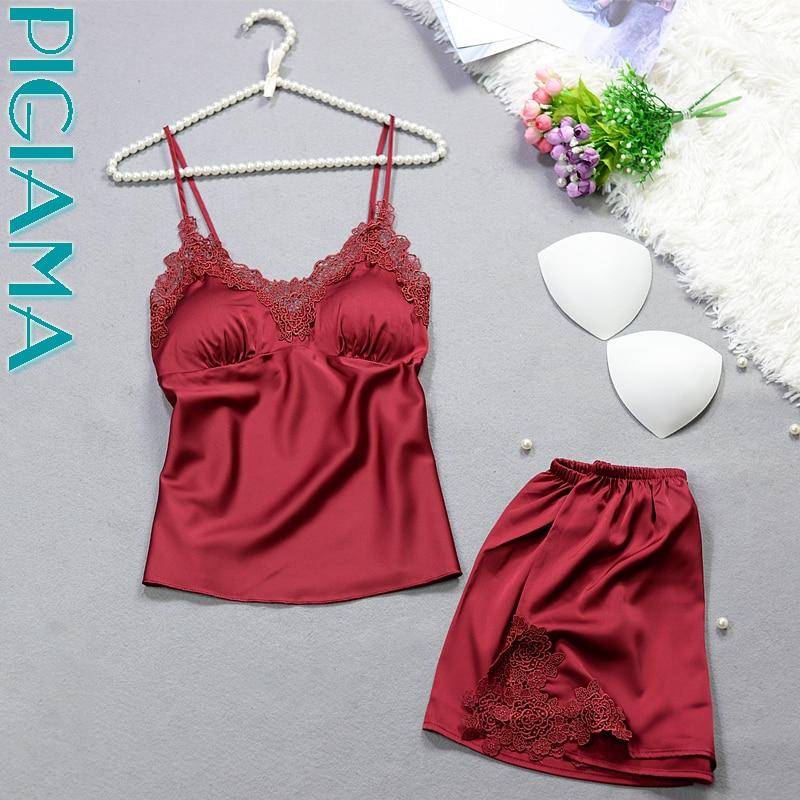 6 Colors   Pajama     Set   For Women Sexy Silk Lace Pyjamas Lingerie Straps Pijama Ladies Bathrobe Babydoll Short   Pajama   Suit 2pcs