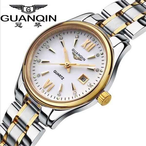 GUANQIN Women Calendar Rhinestone Luminous Quartz Watch with 30M Water Resistant