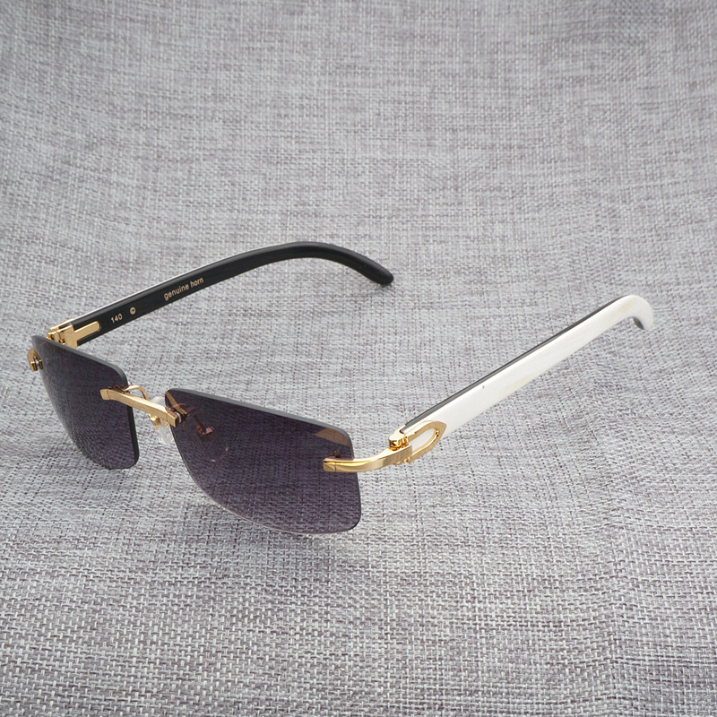 a4cebe62c6a Gold White n Black---Gold Frame with White inside Black Buffalo Horn  Temples(140mm) Silver White n Black---Silver Frame with White inside Black  Buffalo Horn ...
