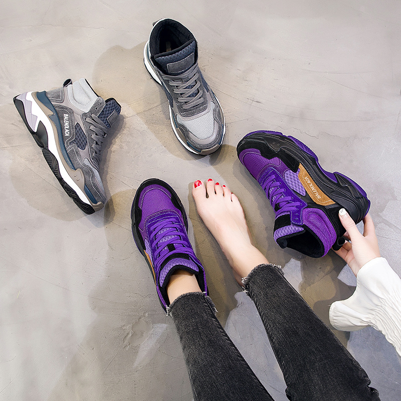 Plate Casual Sneakers 2018 De With Chaussures gray No Top Papa Haute Semelle Hiver Gray Lady Rasmeup Sneaker Chunky Fur Fur purple forme Fur Confortable Femmes Chaud Épaisse Yqwzza