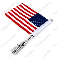 Motorcycle Bike Parts Custom Rear Luggage Rack Mount Pole With American USA Chrome Flag For Harley