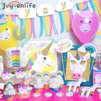 Joy-enlife 1 компл. rainbow Unicorn праздничный комплект ура баннер гирлянда Единорог Маска торт Топпер реквизит для фотосессии Baby Shower Рождество Декор