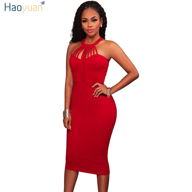 HAOYUAN Off Shoulder Bodycon Dress Sleeveless Back Zipper Robe Sexy Dress  Club Vestidos Hollow Out Blue 083f8561f