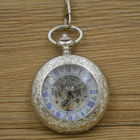 Fashion Self Wind Mechanical Pocket Watch Men Blue Roman Number Vintage Retro Stylish Silver Fob Watches