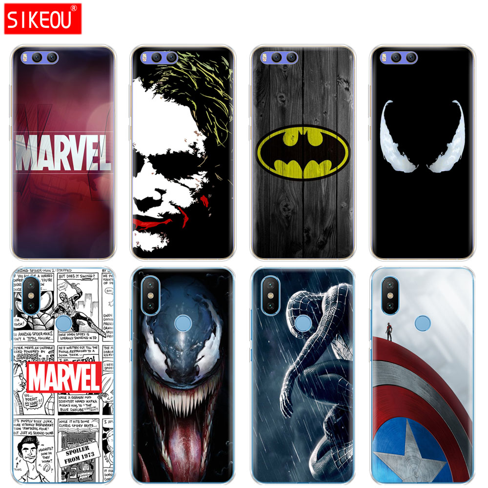 Silicone Cover <font><b>Case</b></font> For Xiaomi <font><b>Mi</b></font> 8 <font><b>8SE</b></font> A1 A2 lite 5 5S 5X 6 Mi5 MI6 NOTE 3 MAX Mix 2 2S <font><b>case</b></font> Marvel superhero venom image