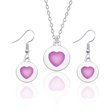 Fashion Creative Love Girl Heart Pendant Hearts Earrings Women Simple Temperament Necklace Jewelry Set
