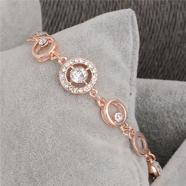 18K Rose Gold Plated Chain Link Bracelet for Women Ladies Shining AAA Cubic Zircon Crystal Jewelry Gift Wholesale Price