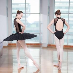 Image 2 - Nouveau coton Spandex sans manches Ballet justaucorps costume Sexy dentelle col haut dos ouvert femmes adultes filles danse Ballet justaucorps