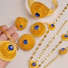 Anniyo (RED/BLUE) Ethiopian Jewelry Set Hair Chain/Necklace/Clip Earing/Ring/Hair pin/Bangle African Wedding Gifts #103506