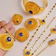 Anniyo (Rood/Blauw) ethiopische Sieraden Set Haar Ketting/Ketting/Clip Earing/Ring/Haar Pin/Bangle Afrikaanse Huwelijksgeschenken #103506