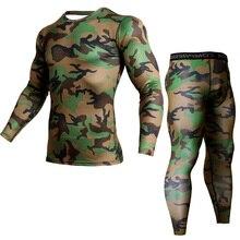 цены MMA  t-shirts Fitness Men Sets Camouflage Compression Shirts + Leggings Base Layer Crossfit Brand Long Sleeve T Shirt Clothing
