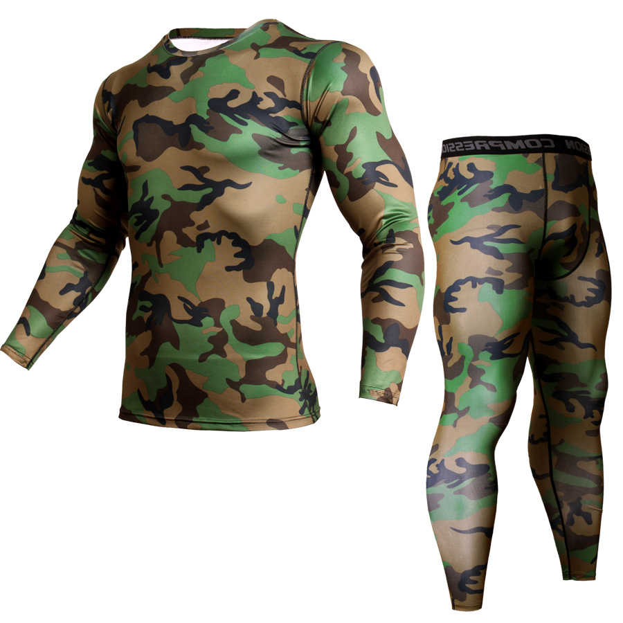 MMA t-shirts Fitness Men Sets Camouflage Compression Shirts + Leggings Base Layer Crossfit Brand Long Sleeve T Shirt Clothing