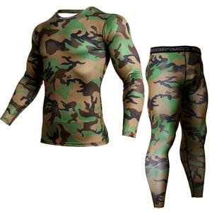 Mma القمصان اللياقة رجال مجموعات التمويه قميص + طماق طبقة قاعدة ضغط crossfit الماركة كم طويل تي شيرت الملابس