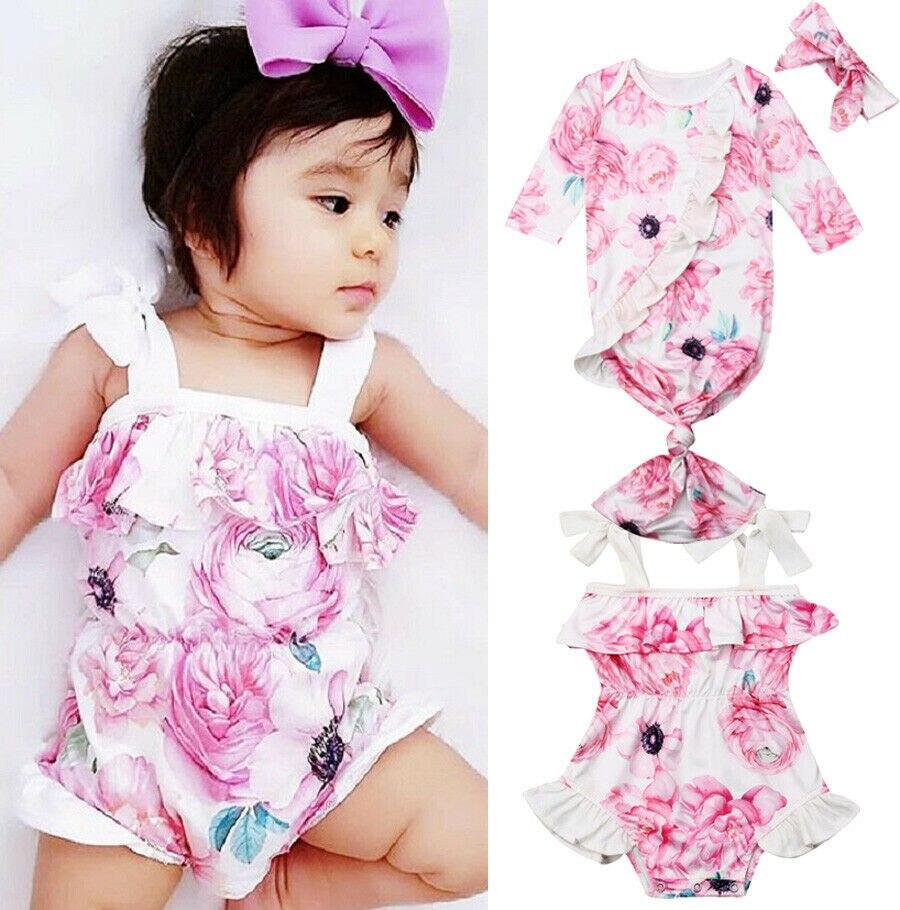 Fein Nette Neugeborene Kleinkind Baby Mädchen Floral Body Kleidung Lange Hülse Schlafsack + Stirnband Oder Ein Stück Spielanzug Sunsuit Kleidung
