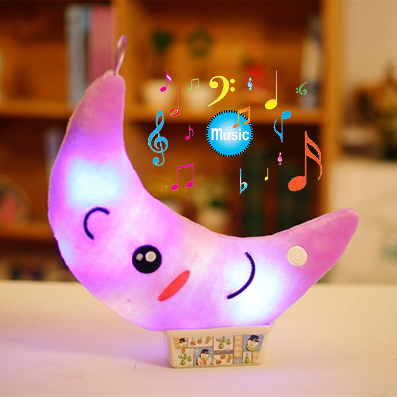 Miaoowa 35cm Colorful Luminous Moon Shape Plush Toys Glowing LED Light Music Pillow Soft Stuffed Lovely Kids Toy Birthday Gift