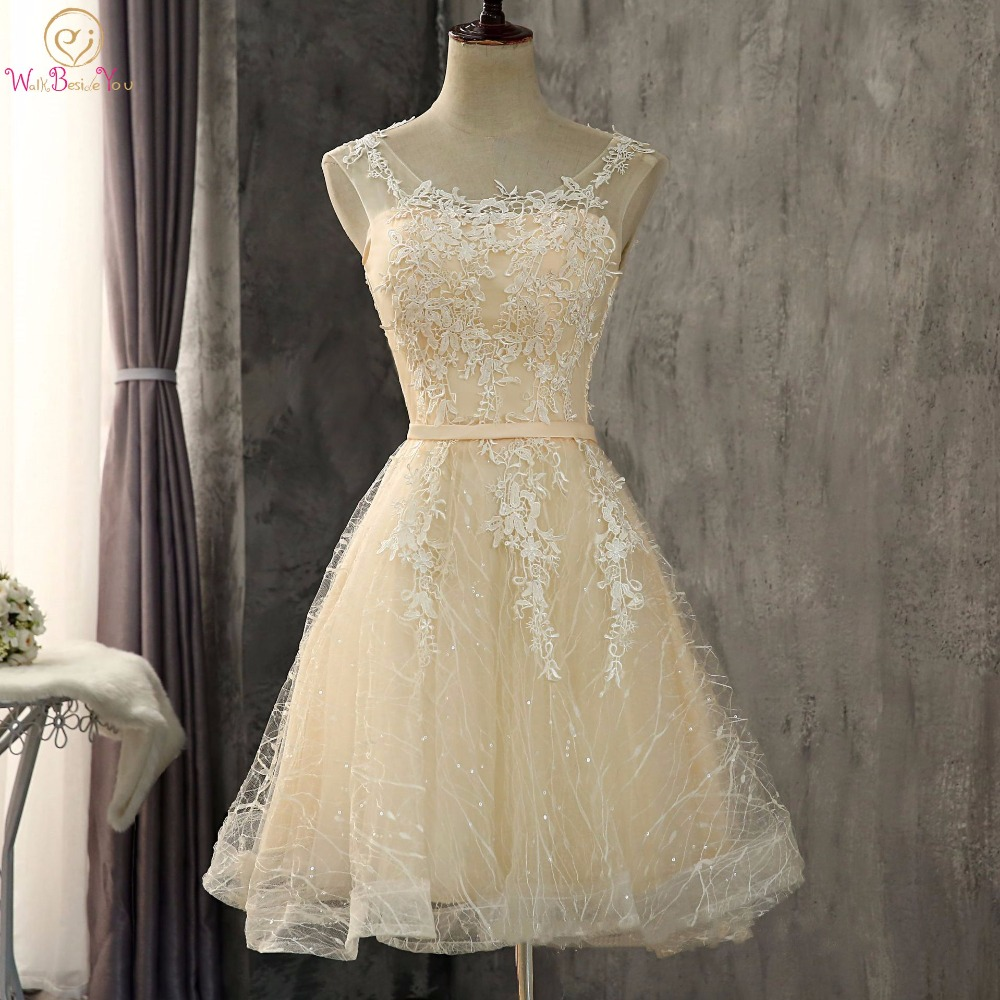 Walk Beside You Champagne Bridesmaid Dresses Lace Gray Short A line Appliques Cheap Sleeveless Honor Wedding