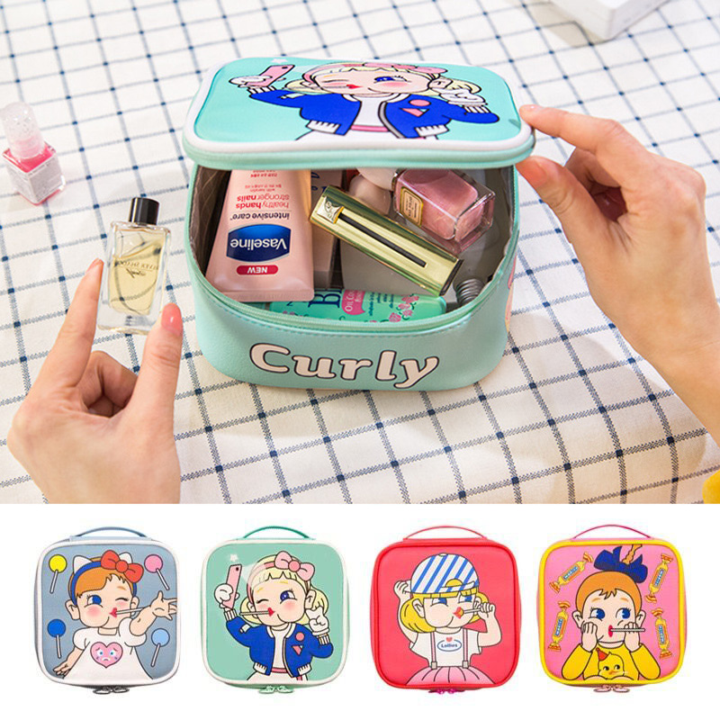 Female Large Capacity Cosmetic Bag Candy Girl Zipper Makeup Bag Travel Beauty Case Lollipop Girl Make Up Hand Bags Neceser Mujer
