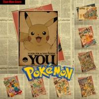 Pokemon Pocket Monsters Cartoon Vintage Retro Kraft Coated Poster Decorative DIY Wall Sticker Art Home Decor