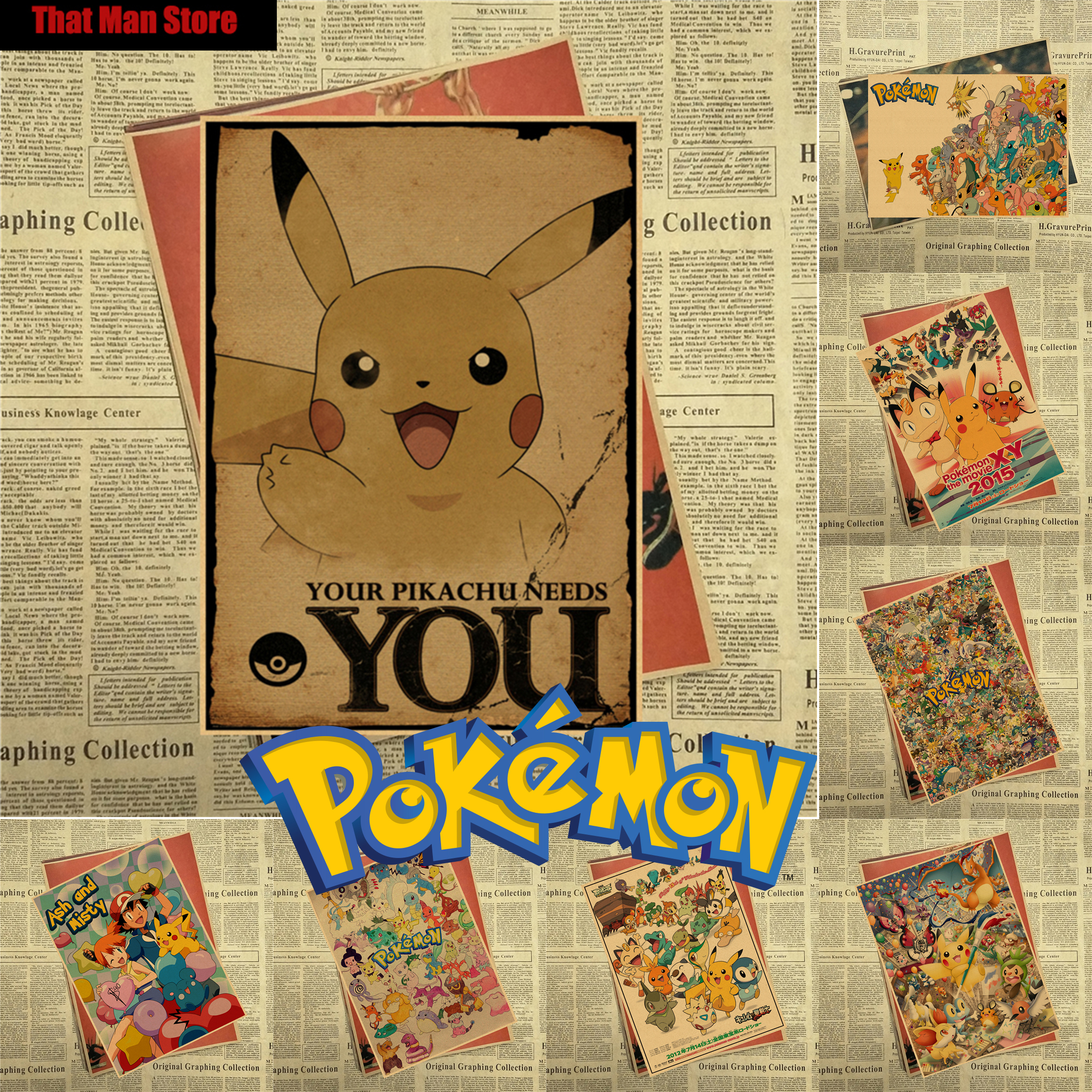 Pokemon pocket monsters cartoon retro vintage kraft cartel recubierto decorativo