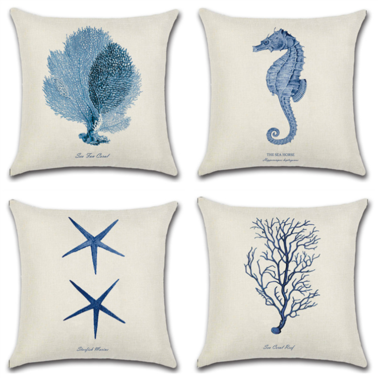 Hand-Painted Marine Coral/Starfish Prints 45*45cm Cushion Cover Linen Throw Pillow Car Home Decoration Decorative Pillowcase
