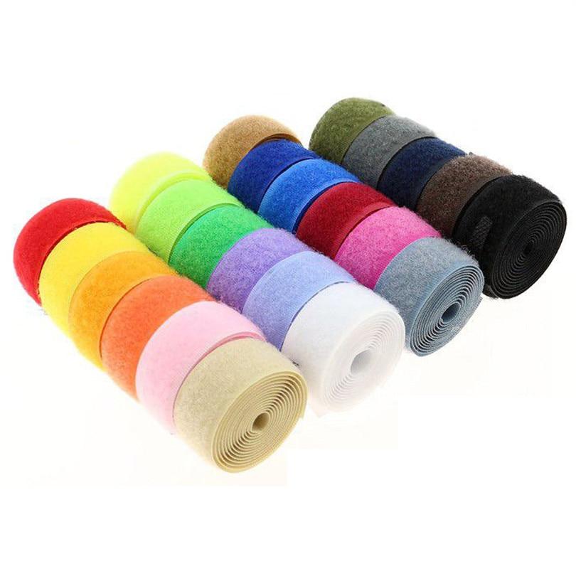 1pair Colorful 100*2cm Hook And Loop Nylon Fastening Fastener Strong Tape Hook Loop Adesivo Sugru Tap Without Glue Sewing