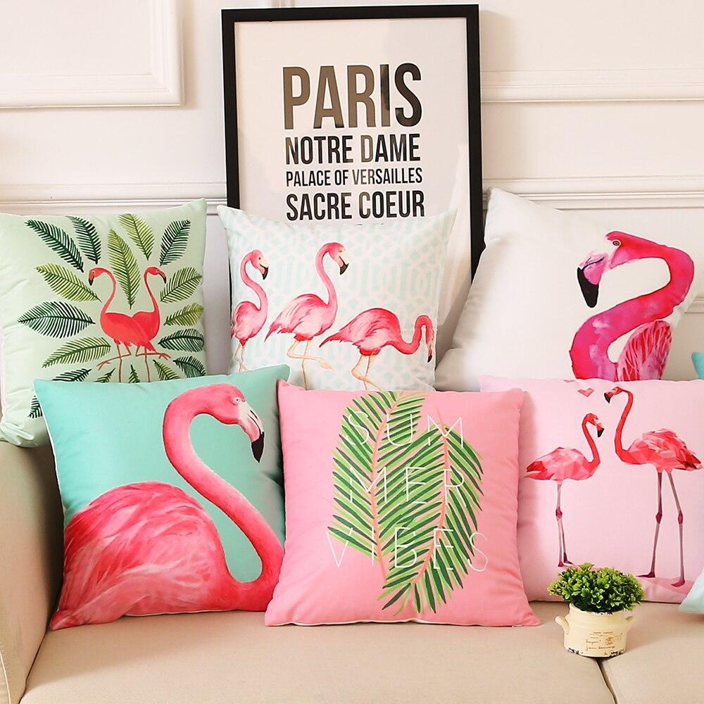 Summer Palm Leaf Cushion Cover Flamingo Birds Soft Pillow