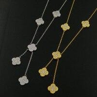 Hermosa Borla Collar Onyx malaquita cinco flor del trébol Collar cz completa de acero inoxidable collar para regalo de las mujeres