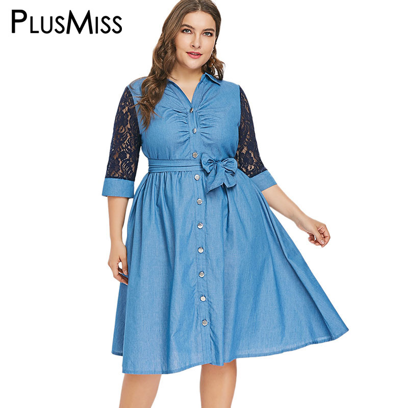 PlusMiss Plus La Taille Sexy Dentelle Chemise En Jean Robe avec Ceinture Femmes XXXXL XXXL XXL Grande Taille Bleu Jeans Midi Robes bureau Dames 5XL