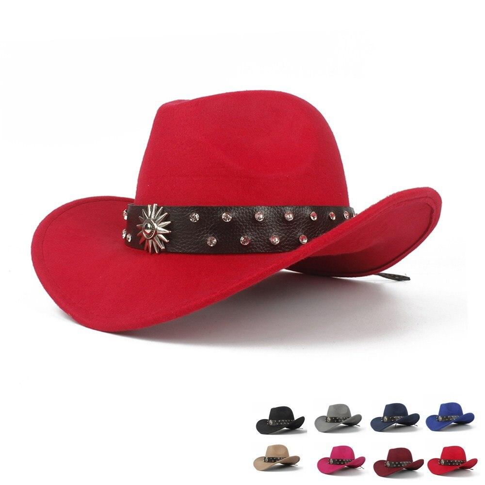 2019 Retro Kind Kinder Wolle Hohl Western Cowboy Hut Roll-up Krempe Boy Mädchen Outblack Sombrero Hombre Filz Kappe Größe 52-54 Waren Jeder Beschreibung Sind VerfüGbar
