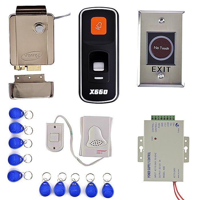 DIY Fingerprint 125KHz RFID ID Card Reader Door Access Control System Kit + Electric Door Lock + Remote Control diy access control kit 125khz rfid card access control door lock system kit id cards key fobs page 3