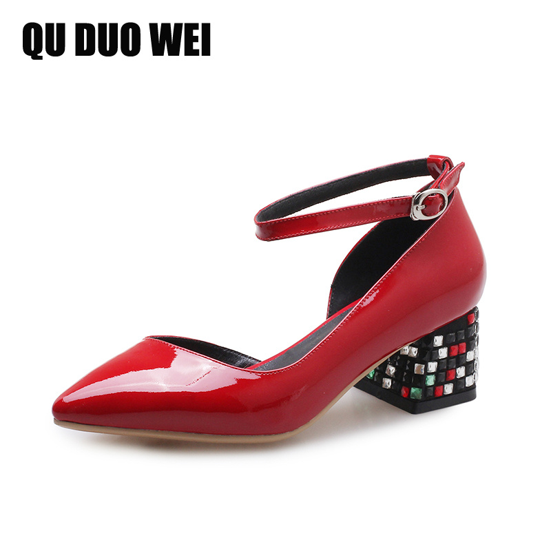 2018 New Summer Genuine Leather Women Sandals Pointed Toe Square High-Heeled Pumps Shoes Woman Fashion Crystal Rhinestone Shoes new fashion woman flats spring summer women shoes top quality strappy women sandals suede pointed toe gladiator ballet pumps