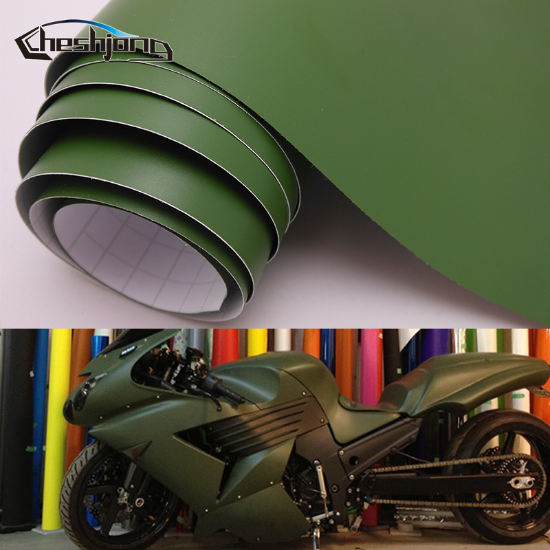 Adhesive Matte Vinyl Film Car Wrap Matt Army Green Scooter Motorcycle PVC Decal Roll