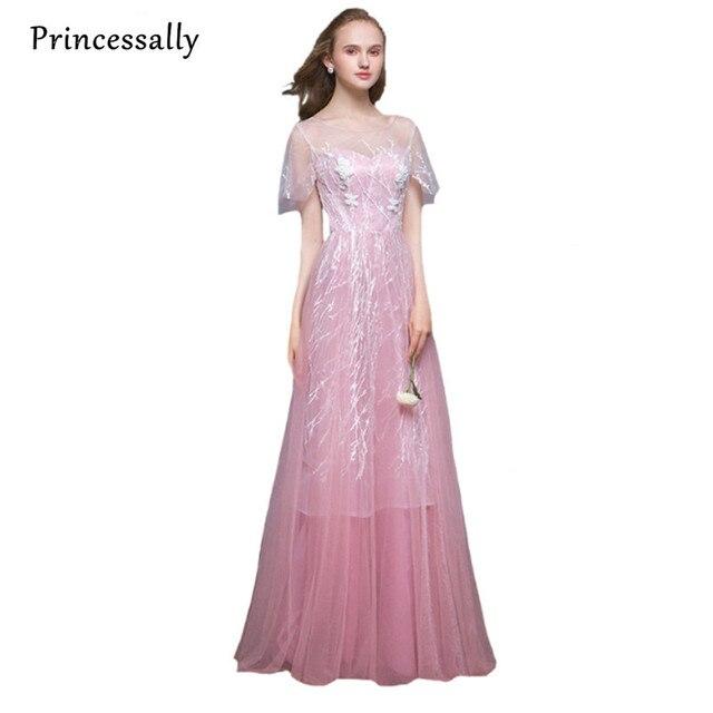 Princesa vestido de noche largo tren de barrido nuevo dulce Rosa ...