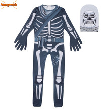 Ghost Schedel Skelet Cosplay Kostuums Jongens Jumpsuit Party Halloween Kostuum kinderen Bodysuit Fancy Dress Kinderen Halloween Props(China)