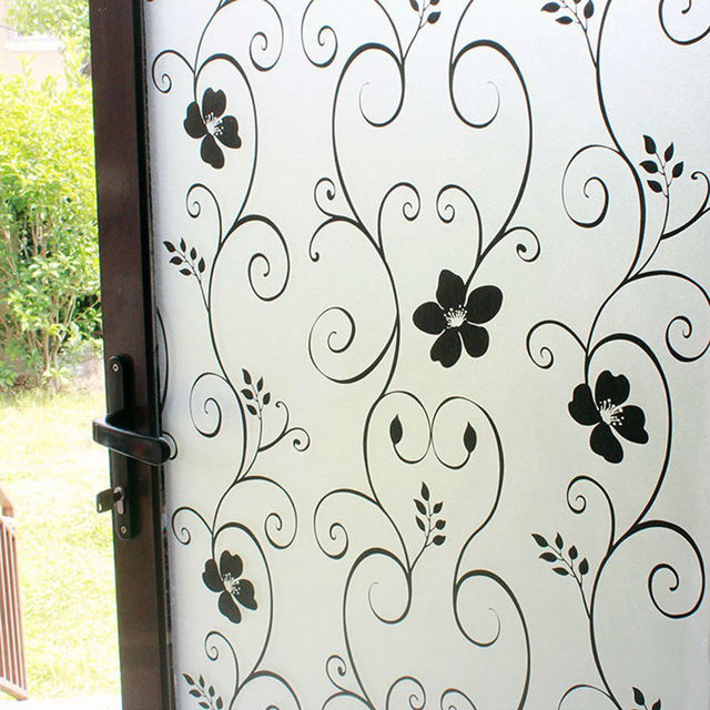 60 X 200cm Black Wrought Iron Flower Film Privacy Gl Stickers Home Decor Frosted Opaque