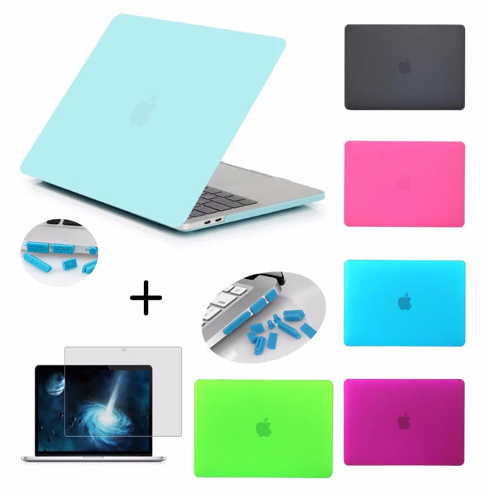 New Laptop Case Cover For Apple macbook Air Pro Retina 11 12 13.3 15 For Pro 13 15 inch with Touch Bar+Screen film + dust plug стойка для клавишных ultimate js mps1